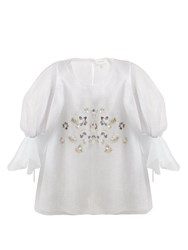 Delpozo Floral Embellished Net And Silk Blouse Silver