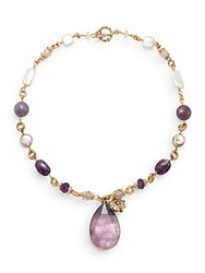 Stephen Dweck Amethyst Plum Mother Of Pearl Clear Quartz And Bronze Doublet Teardrop Necklace