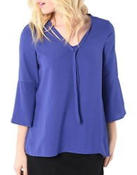 Kensie Three Quarter Sleeve Luxury Crepe Blouse Purple