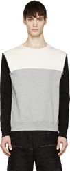 Phenomenon Grey Colorblocked Zipped Sweatshirt