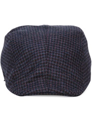 Canali Houndstooth Flat Cap Blue