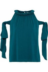 Milly April Cold Shoulder Bow Detailed Stretch Silk Blouse Petrol