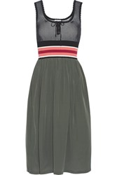 Tomas Maier Silk Crepe De Chine And Ribbed Knit Dress Army Green