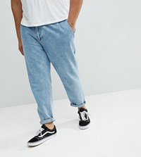 Asos Plus Double Pleated Jeans In Mid Wash Blue Mid Wash Blue