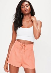 Missguided Orange Lace Up High Waisted Shorts Pink