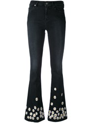 Love Moschino Daisy Embroidered Flared Jeans Women Cotton 25 Black