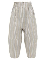 Loup Charmant Homer Striped Paperbag Waist Cropped Trousers Beige Stripe