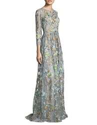 Marchesa Sleeveless Floral Embellished Gown Powder Blue