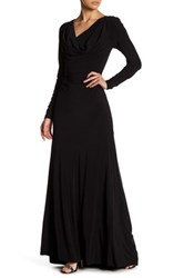 Vera Wang Long Sleeve Matte Jersey Gown Black