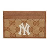 Gucci Beige And Brown Ny Yankees Edition Small Gg Patch Card Holder