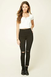 Forever 21 Stretch Knit Ripped Pants