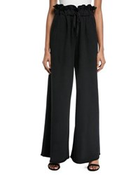 Kendall Kylie Paperbag Wide Leg Sweatpants Black