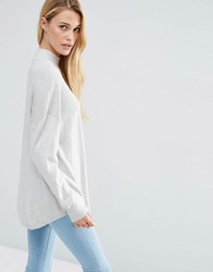 Asos Tunic With High Neck In Cashmere Mix Pale Grey Marl