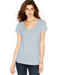 Maison Jules V Neck Pocket Tee Halogen Blue