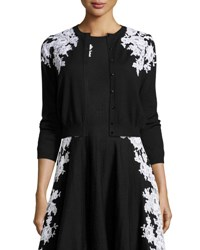 Oscar De La Renta Lace Trim 3 4 Sleeve Cardigan Black White Black Patterned