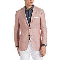 Kiton Neat Cashmere Blend Three Button Sportcoat Red