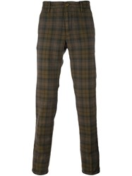 Incotex Plaid Tapered Trousers Brown
