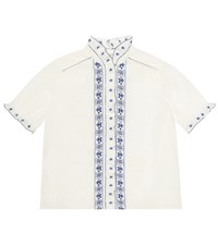 Bonpoint Lauriane Embroidered Cotton Shirt White