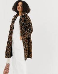 Minimum Leopard Print Faux Fur Coat Multi
