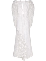 Rosie Assoulin Victorian Embroidered Long Dress White