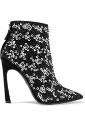 Giambattista Valli Embellished Suede Ankle Boots Black
