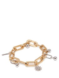 Burberry Crystal Charm Gold And Palladium Plated Bracelet