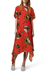 Topshop Boutique Poppy Godet Silk Dress Red Multi