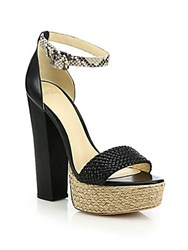 Alexandre Birman Alicia Braided Leather And Python Espadrille Platform Sandals Black Natural