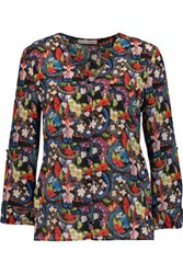 Alice Olivia Colby Floral Print Silk Blouse Multi