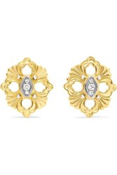 Buccellati Opera 18 Karat Yellow And White Gold Diamond Earrings
