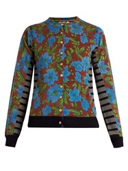 Muveil Floral Print And Striped Wool Cardigan Blue Multi