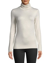 Majestic Metallic Knit Turtleneck Top Metal Gold