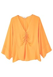 Mango Ruched Detail Blouse Orange
