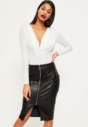Missguided Black Zip Through Faux Leather Midi Skirt