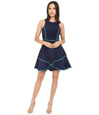 Adelyn Rae Fit And Flare Dress With Contrast Piping Navy Women's Dress