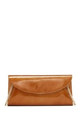 Lk Bennett Flo Patent Leather Envelope Clutch Brown