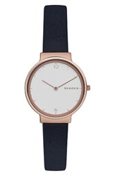 Skagen Women's Ancher Crystal Index Leather Strap Watch 30Mm