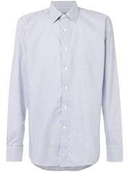 Canali Checked Shirt Cotton Blue