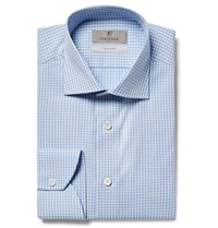 Canali Blue Slim Fit Cutaway Collar Gingham Cotton Poplin Shirt Light Blue