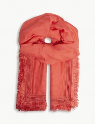 Claudie Pierlot Lace Embroidered Scarf Coral