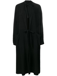 Y's Tied Cape Style Coat Black