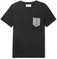 Maison Martin Margiela Slim Fit Printed Silk Trimmed Cotton Jersey T Shirt Charcoal