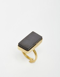 Made Black Rectangle Stone Ring Gold