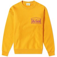 Aries Temple Logo Crew Sweat Orange
