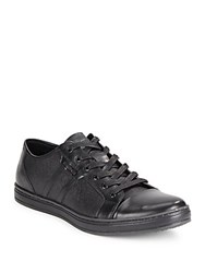 Kenneth Cole Brand Width Leather Lace Up Sneakers Black