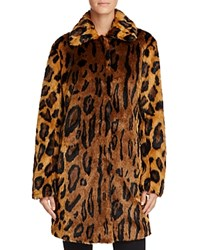 Guess Abigal Leopard Print Faux Fur Coat Honey Pie Multi