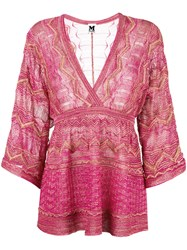 M Missoni V Neck Blouse Pink Purple