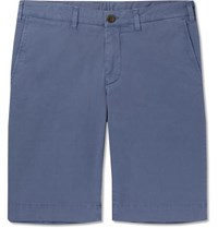 Canali Stretch Cotton Twill Shorts Blue