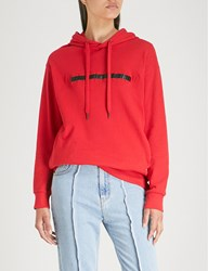 Izzue Freedom Slogan Cotton Jersey Hoody Red