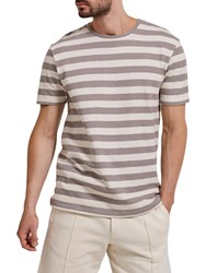 Selected Homme Jameson Striped T Shirt Elephant Skin